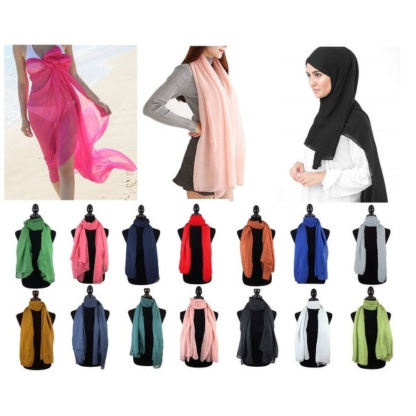 "Fashion Womens Solid Scarf Beach Wrap Pareo Hijab Cover Up - 35""x68"""
