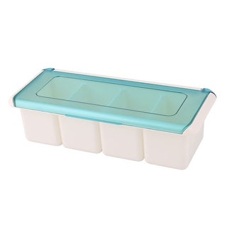 Kitchen Plastic Rectangle 4 Compartments Condiment Salt Pepper Storage Box Cyan