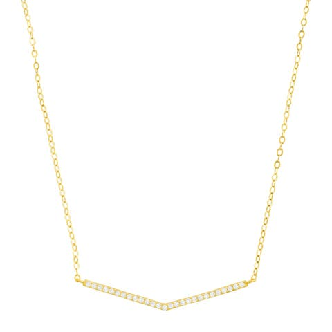 Mini Chevron Necklace with Cubic Zirconia in 14K Gold