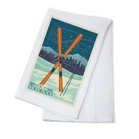 Winter Park CO Crossed Skis Letterpress LP Artwork (100% Cotton Towel Absorbent)