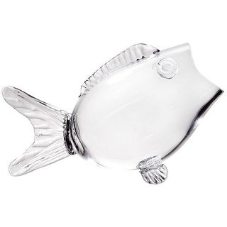 """Fish Bowl - Clear Glass Candy And Nut Bowl - 9.5"""" Long"""