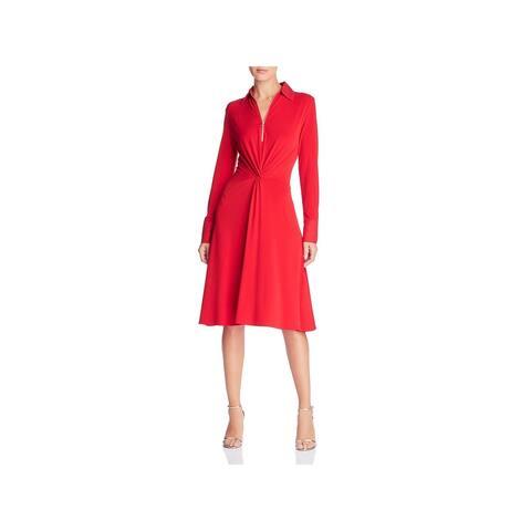 Donna Karan Womens Abstract Rom Wear to Work Dress Jersey Long Sleeves