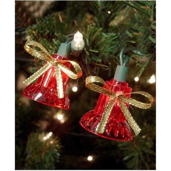 Set of 40 Red Musical Bell Multi-Function Christmas Lights - Green Wire