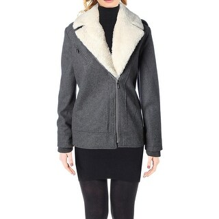 French Connection Womens 200.00 Moto Coat Asymmetric Heathered