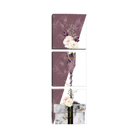 """iCanvas """"Mauve Marble Champagne Glass With Roses On White Marble Gift Box"""" by Pomaikai Barron 3-Piece Canvas Wall Art Set"""