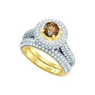 14k Yellow Gold Womens Cognac-brown Colored Diamond Bridal Wedding Engagement Ring Band Set 2.00 Cttw - Brown/White