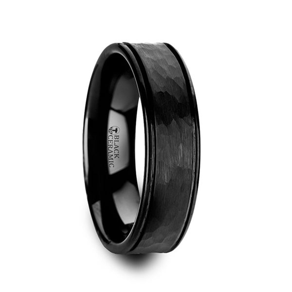 THORSTEN - REVENANT Hammered Finish Center Black Ceramic Wedding Band with Dual Offset Grooves and Polished Edges - 6mm