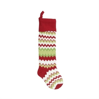 """30"""" Extra Long Festive Red, Green and White Chevron Patterned Knit Wool Christmas Stocking"""