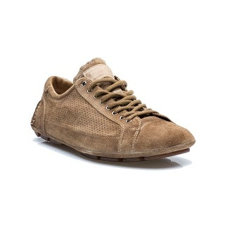 Prada Men's Casual Suede Leather Lace Up Driving Loafer Shoes Brown