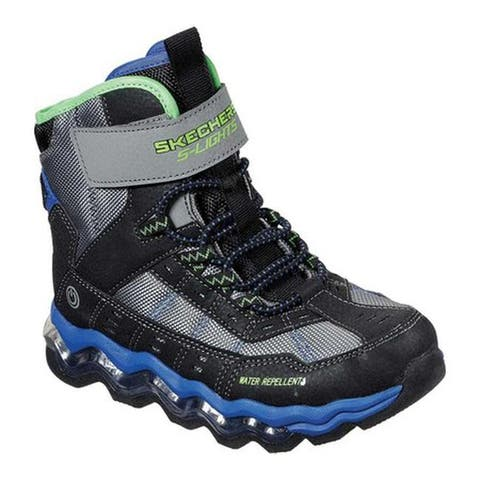 Skechers Boys' S Lights Turbowave Polar Rush Boot Black/Blue/Lime