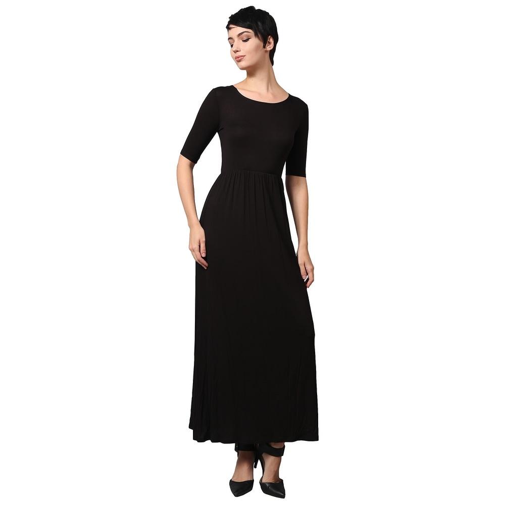 NE PEOPLE WOMENS Short Sleeve Scoop Neck Plain Maxi Dress [NEWDR44]