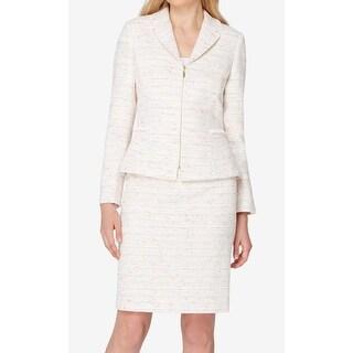 Tahari By ASL NEW White Fringe Trim Tweed Rainbow 2 Skirt Suit Set