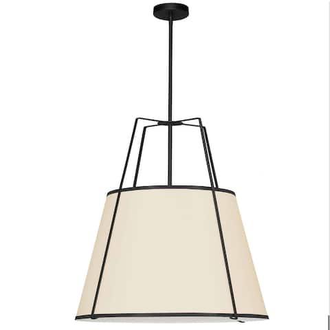 Dainolite Trapezoid Contemporary Black Luxury Pendant Light Modern Pendant Light w/ Cream Tapered Drum Shade