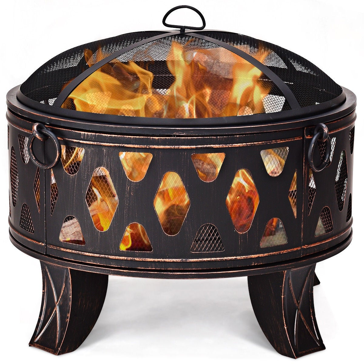 Camping Fire Pit >> Costway 28 Outdoor Fire Pit Bbq Portable Camping Firepit Heater Patio Garden