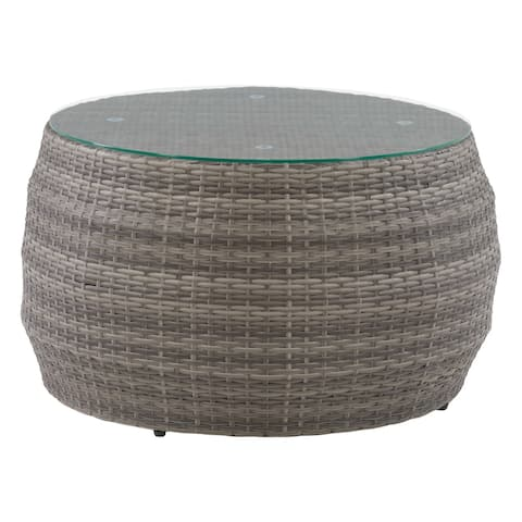 CorLiving Round Coffee Table in Blended Grey Frame