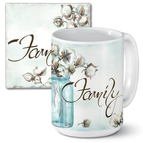 Counterart 15 Oz Ceramic Mug & Absorbent Stone Coaster Gift Set - Cotton Boll - 9x6x4.016