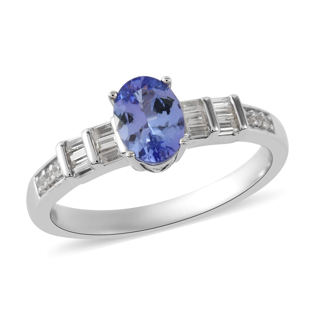 Merthus 925 Sterling Silver Ring Synthetic Tanzanite Leaf CZ Halo Engagement Band Ring Size 6-9