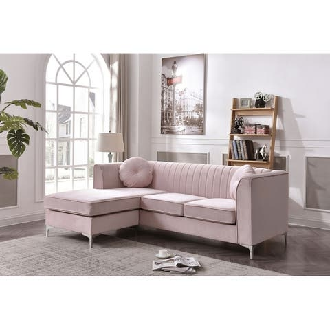 Delray Velvet Tufted Sofa with Reversible Chaise