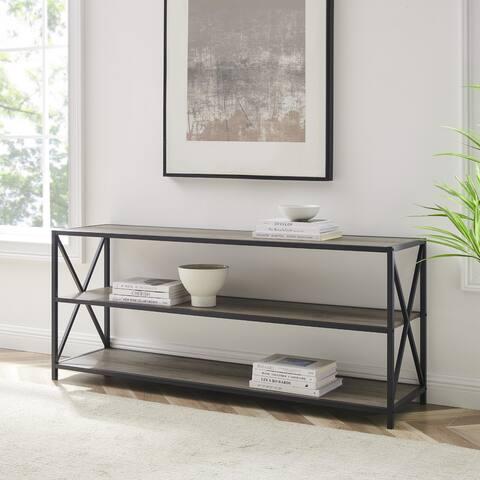 Carbon Loft 60-inch Hattie X-frame Grey Wash Bookshelf Console