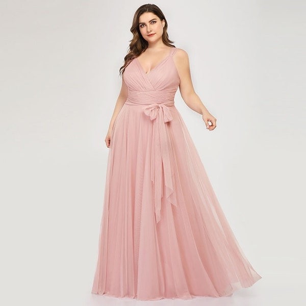 Shop Ever-Pretty Womens Tulle Long Elegant Plus Size Bridesmaid ...