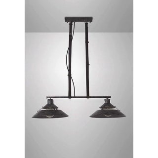 "Contempo Lights SHSC301 Lyon 2 Light 36"" Wide Linear Pendant with Industrial Met"