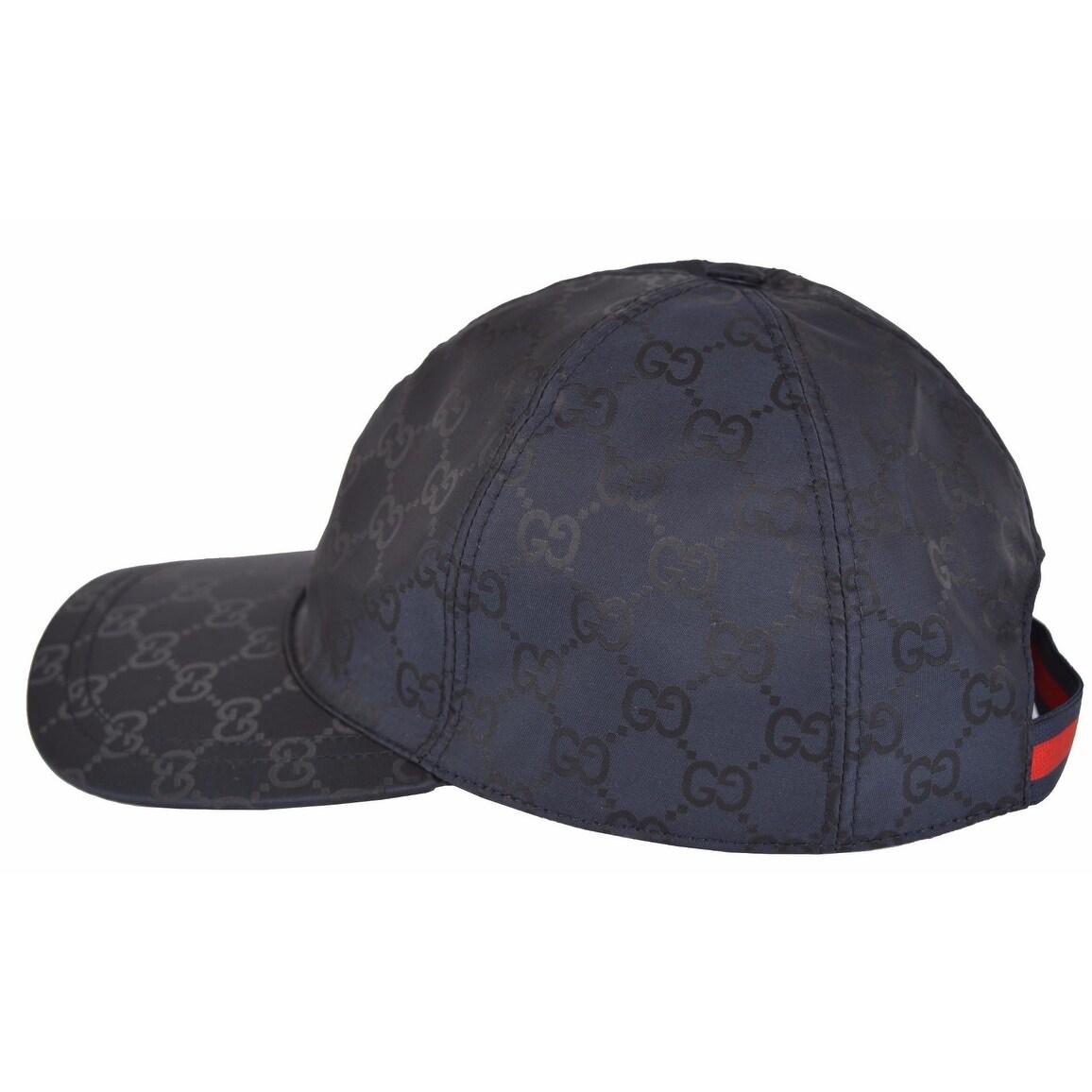 2cddaf86 Gucci Men's 387578 BLUE Nylon GG Guccissima Web Stripe Baseball Cap Hat S