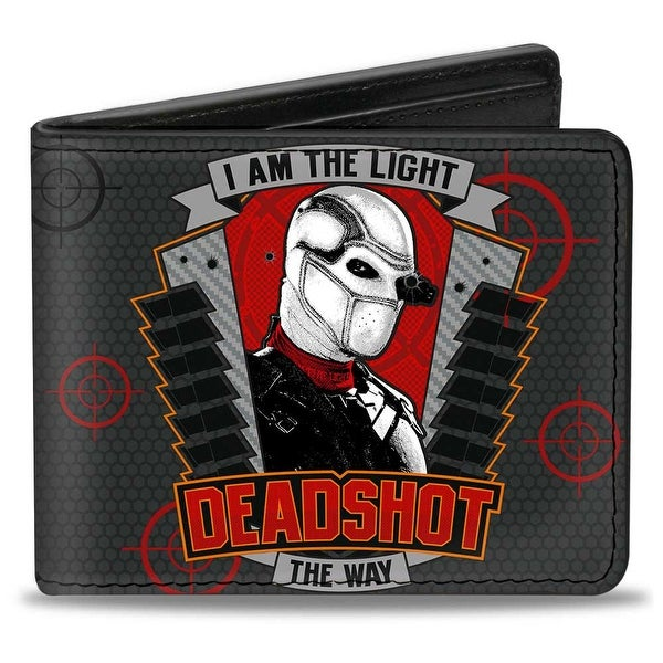 Deadshot Pose I Am The Light The Way Badge + Suicide Squad Targets Grays Bi-Fold Wallet - One Size Fits most