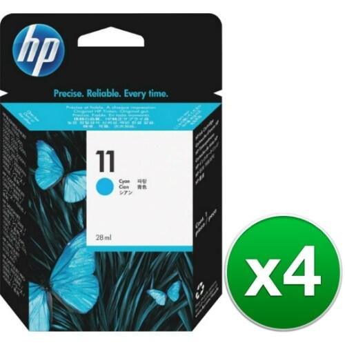 HP 11 Cyan Original Ink Cartridge (C4836A) (4-Pack)