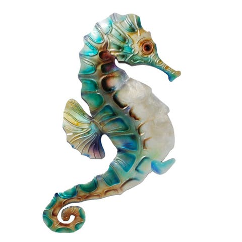 Handmade Wall Seahorse Blue and Pearl (Philippines) - 6 x 1 x 11