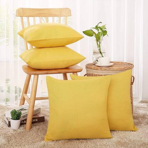 Deconovo Decorative Faux Linen Throw Pillow Covers(4 PCS)