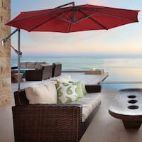 Costway 10' Hanging Umbrella Patio Sun Shade Offset Outdoor Market W/t Cross Base (Burgundy) - Burgundy
