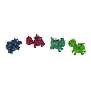 Set of 4 Whimsical Bobble Head Dinosaur Clip Magnets - Multicolored
