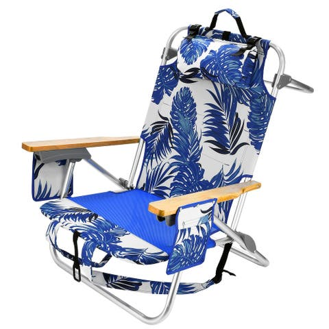 5-Position Folding Backpack Beach Chair