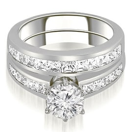 2.05 cttw. 14K White Gold Channel Set Princess Cut Diamond Bridal Set
