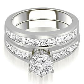 2.05 cttw. 14K White Gold Channel Set Princess Cut Diamond Bridal Set - White H-I (Option: 3)|https://ak1.ostkcdn.com/images/products/is/images/direct/033a05c71df44748d372ed09a7f9c16dfae3fa38/2.05-cttw.-14K-White-Gold-Channel-Set-Princess-Cut-Diamond-Bridal-Set-%28I1%2C-H-I%29.jpg?impolicy=medium