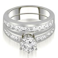 14K White Gold 2.05 cttw.  Channel Set Princess Cut Diamond Bridal Set HI,SI1-2