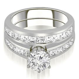 14k white gold channel set princess cut diamond bridal set white h i - 2 Piece Wedding Rings