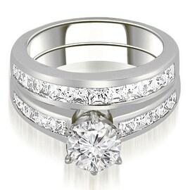 2.05 cttw. 14K White Gold Channel Set Princess Cut Diamond Bridal Set