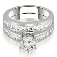 14K White Gold 2.30 cttw. Channel Set Princess Cut Diamond Bridal Set HI,SI1-2