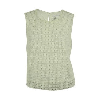Calvin Klein Women's Sleeveless Eyelet Crop Top