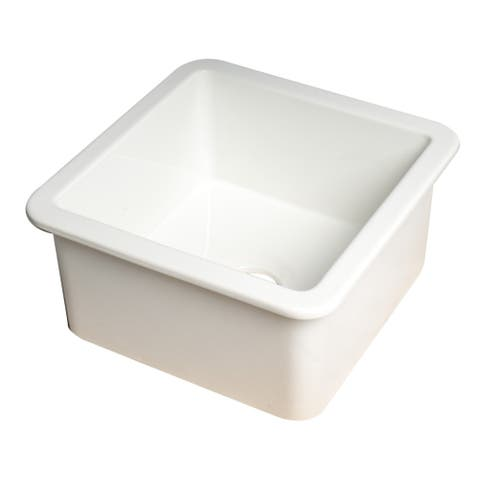 """White Square 18"""" x 18"""" Undermount / Drop In Fireclay Prep Sink"""
