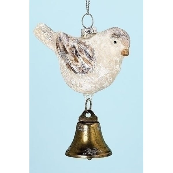"4""Weathered Winter Bird with Bell Decorative Glass Christmas Ornament"