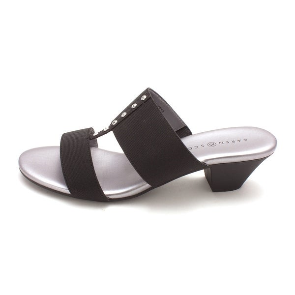 Karen Scott Womens Zarena Fabric Open Toe Casual Slide Sandals