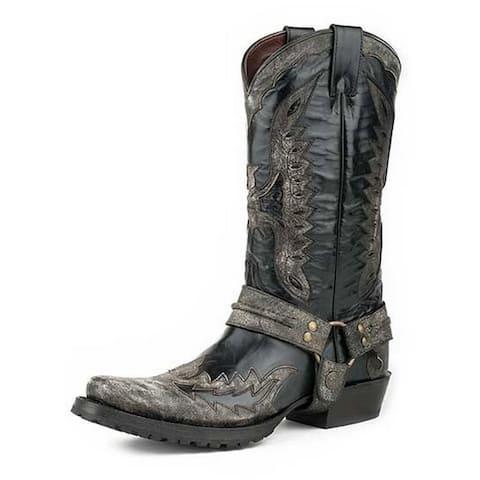 Stetson Western Boots Men Outlaw Eagle Biker Black