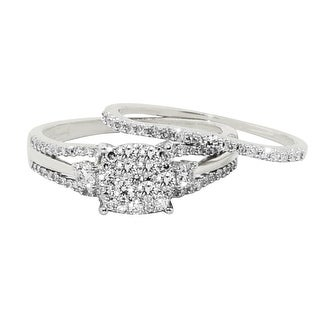 White Gold Bridal Rings Set Round Center 0.66cttw Diamonds 3 Stone Style Engagement Ring Band Set