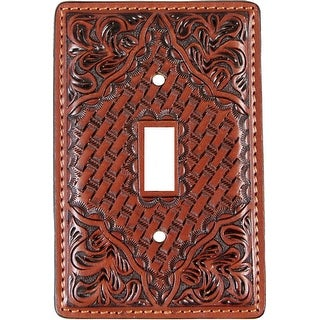 3D Western Switch Plate Tooled Floral Basketweave SP11 - TAN