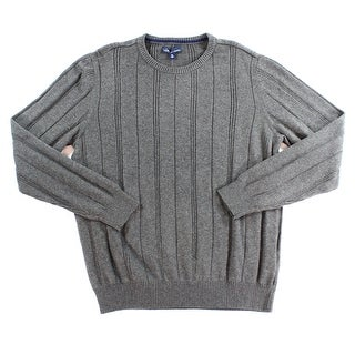 John Ashford NEW Gray Charcoal Men Size Large L Ribbed Crewneck Sweater
