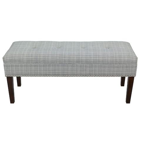 Transitional Grey Stripe Indoor Living Room Bench