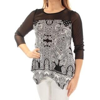 INC Womens New 1543 Black Damask Illusion Neckline 3/4 Sleeve Casual Top M B+B