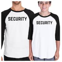 Security Dad and Son Matching Baseball Shirts Funny Graphic Raglan